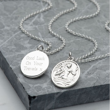 Personalised Silver St Christopher Necklace
