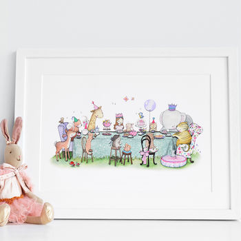 Personalised Girls Enchanted Tea Party Birthday Picture