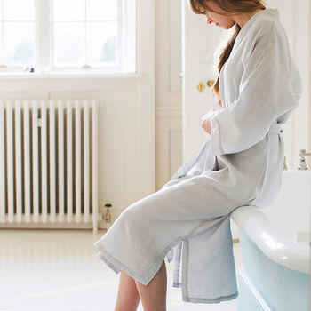 Dove Grey Linen Bath Robe