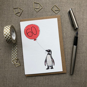 Personalised 60th Birthday Card Penguin Design
