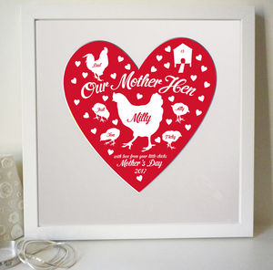 Personalised Mother Hen Heart Print - posters & prints
