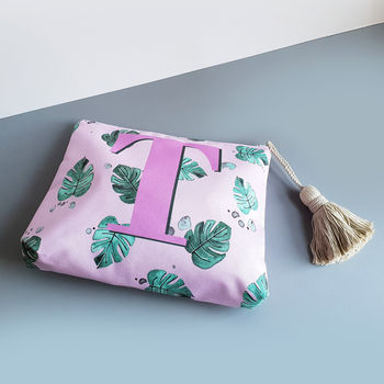 Tropical Leaf Monogram Travel Wash Bag
