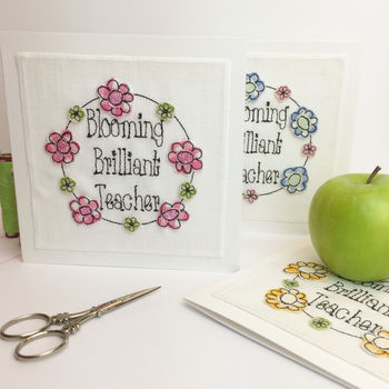 Blooming Brilliant Teacher Embroidered Card