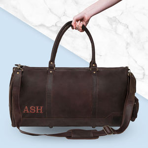 Personalised Leather Deep Weekender Vintage Mahogany