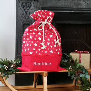 Luxury Personalised Stars Christmas Santa Sack - stockings & sacks