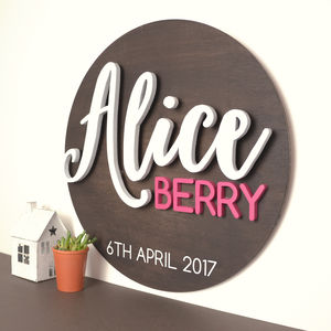 Personalised New Born Christening 3D Wooden Sign - baby's room