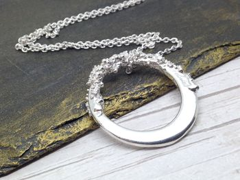 Large Open Circular Pendant In Sterling Silver