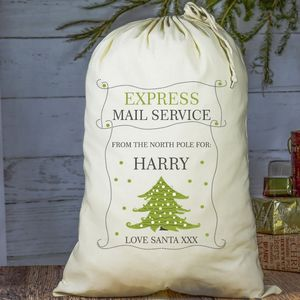 Christmas Tree Personalised Cotton Sack