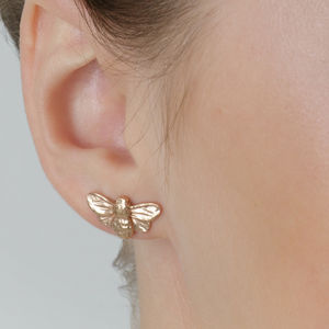 Rose Gold Vermeil Bumblebee Earring Studs - earrings