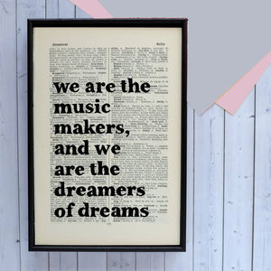 Inspirational 'Dreamers Of Dreams' Graduation Print - music-lover
