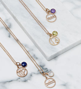 Personalised Birthstone And Zodiac Necklace - 18th birthday gifts