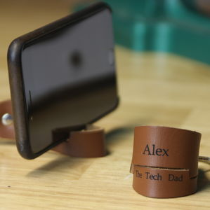 Personalised Phone Holder Leather Keyring