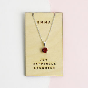 Birthstone Personalised Sterling Silver Necklace
