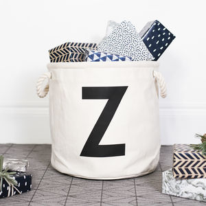 Personalised Initial Canvas Storage Basket - toy boxes & chests