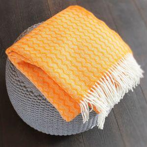 Vivid Tangerine Herringbone Throw - throws, blankets & fabric
