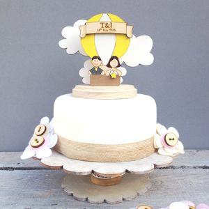 Personalised Hot Air Balloon Wedding Cake Topper - cakes & treats