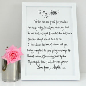 Sister Gift Poem Print - family & home