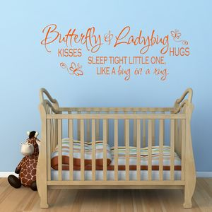 Butterfly Kisses Quote Vinyl Wall Sticker