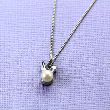 Sterling Silver Bunny Rabbit Pearl Necklace