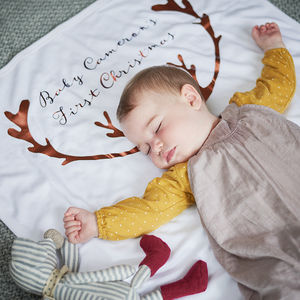 Personalised Antler Baby Blanket - blankets, comforters & throws