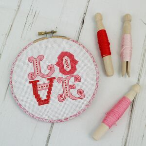 Embroidery Hoop Cross Stitch Gift Set. Candy Pink Love