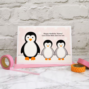 'Penguins' Personalised Birthday Card From Children