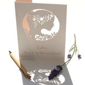 Matron Of Honour Personalised Laser Cut Card - new in wedding styling