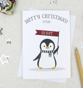 Cute Christmas Penguin Personalised Xmas Card