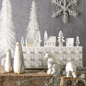 Wooden Village Advent Calendar With LED Lights