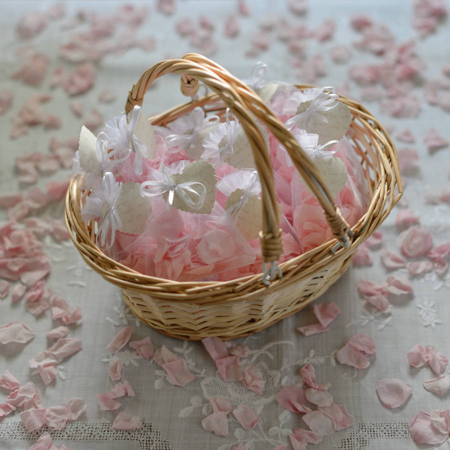 Natural Wicker Flower Girl Baskets : Flower girl basket with pink rose petal confetti by the