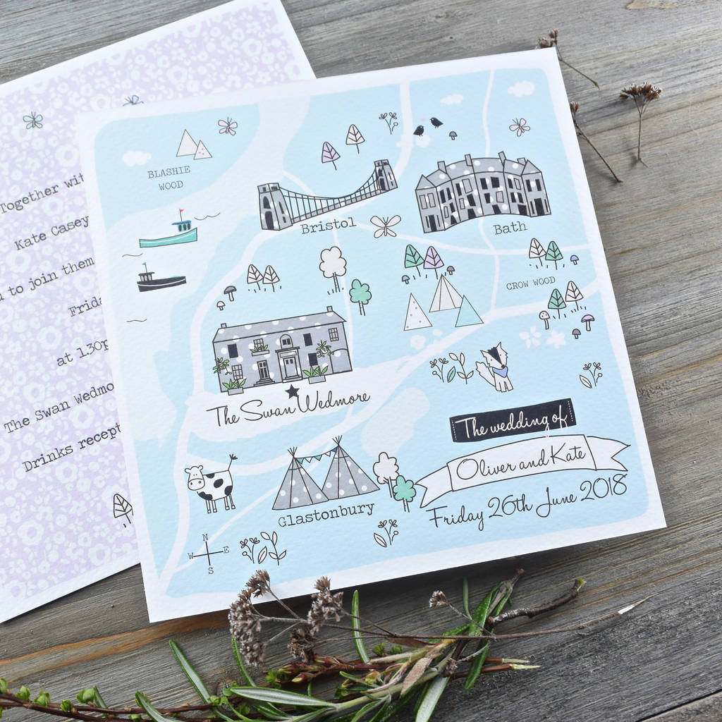Bespoke Illustrated Map Wedding Invitations