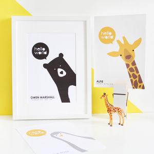New Baby, Personalised Animal A4 Prints - animals & wildlife