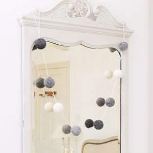 Large Grey And White Felt Pom Pom Garland