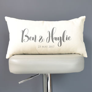 Personalised Couple's Names And Date Cushion - new in home