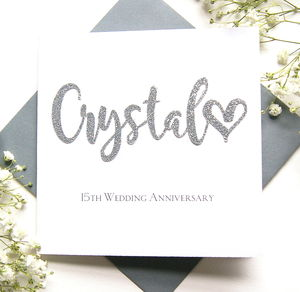 Crystal 15th Wedding Anniversary Card - anniversary cards