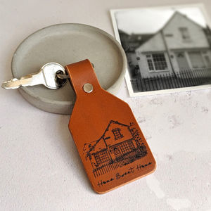 Personalised Leather New Home House Portrait Keyring