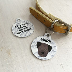 Personalised Geometric Dog Breed ID Tag - new in pets