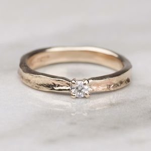 Thumbelina Solid Gold Diamond Engagement Ring - rings