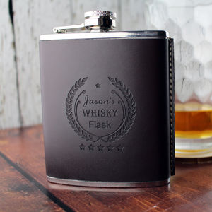 Personalised Leather And Metal Hip Flask
