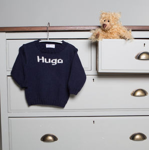 Baby Boy Hand Knitted Personalised Name Sweater - personalised