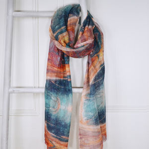 Elba Teal And Orange Marble Print Wool Silk Scarf