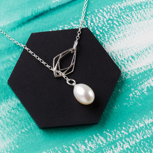 Diamond Freshwater Pearl Lariat Necklace - necklaces & pendants