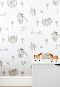 Horse Tales: White, Grey And Pink - children's room