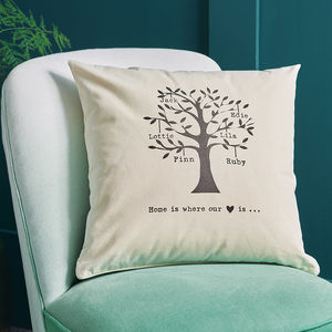 Personalised Family Tree Cushion - bedroom
