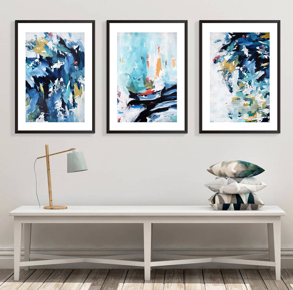 modern abstract wall art large set of three art prints by ...