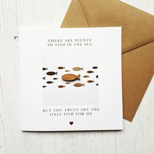 'The Only Fish For Me' Gold Foiled Greetings Card - valentine's cards