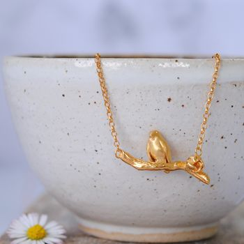 Robin On A Branch Necklace In Gold
