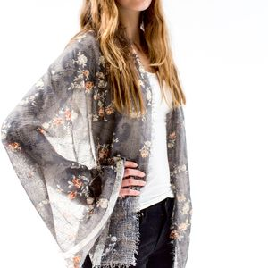 Gold Embossed Flower Print Scarf - womens