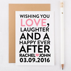 Personalised Wedding Day Card - congratulations cards