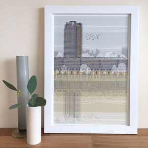 Barbican Architectural Illustration Print - architecture & buildings